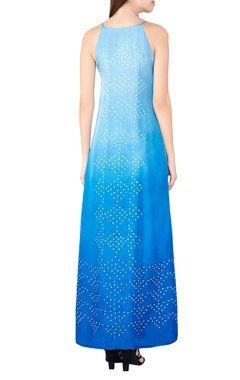 Blue silk bandhani maxi dress