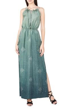 sage silk bandhani maxi dress