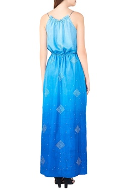 blue silk bandhani maxi dress