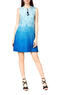 blue silk bandhani skater dress