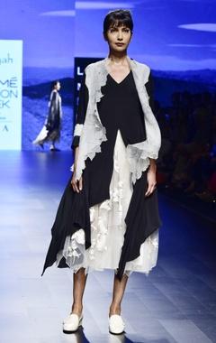 Aikeyah black & off white shibori & french knot dress with jacket