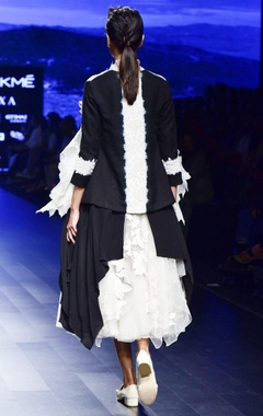 black & off white shibori & french knot dress with jacket
