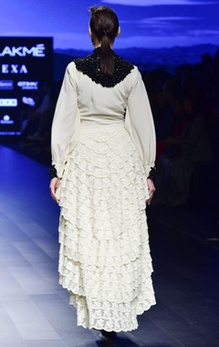 Off white crepe embroidered tunic with lace layered skirt