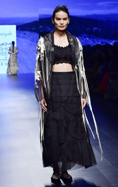 Aikeyah Black organza & tulle embroidered skirt & blouse with organza jacket
