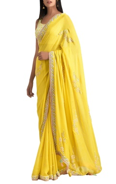 MadSam TinZin Yellow hand embroidered net sari with blouse
