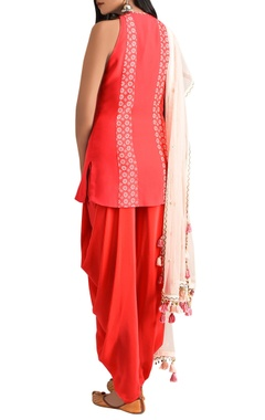 red hand embroidered sleeveless kurta with patiala & dupatta