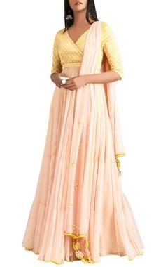 MadSam TinZin Yellow & pink anarkali with dupatta & churidar