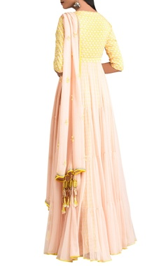 Yellow & pink anarkali with dupatta & churidar
