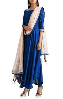 MadSam TinZin Moroccan blue asymmetric kurta set