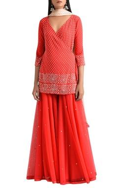 MadSam TinZin Red wrap kurta with gharara pants & net dupatta