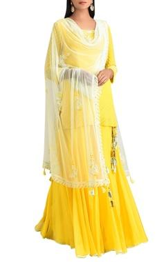 MadSam TinZin Lemon yellow georgette kurta with sharara pants & dupatta