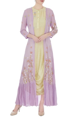 Olive & lilac thai silk & crepe embroidered dress with cape
