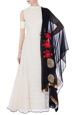 White & black cotton linen phumban anarkali with dupatta