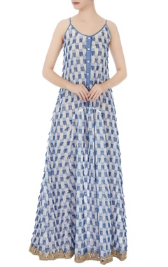 White & blue frayed detailed maxi dress with peach jumpsuit