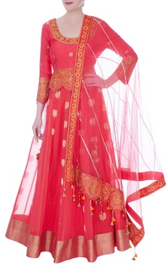 RAR Studio Peach chanderi handloom cutwork lehenga