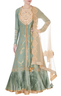 RAR Studio Moss green & beige chanderi handloom mughal jaal embroidered nargis anarkali