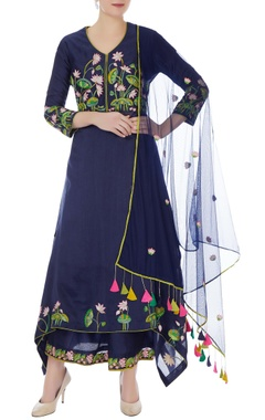 RAR Studio Indigo chanderi handloom embroidered anarkali set