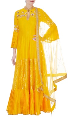 RAR Studio Yellow chanderi handloom embroidered anarkali with dupatta