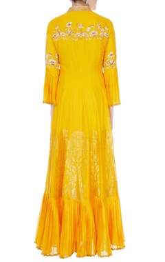 Yellow chanderi handloom embroidered anarkali with dupatta