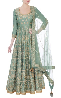 RAR Studio Moss green chanderi handloom ari embroidery anarkali with dupatta
