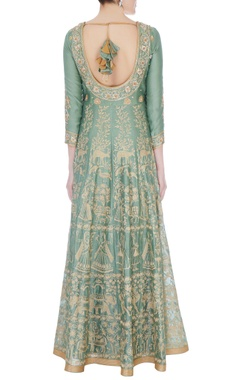 Moss green chanderi handloom ari embroidery anarkali with dupatta