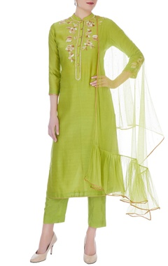 RAR Studio Lime green chanderi handloom embroidered anarkali set