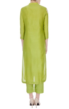 Lime green chanderi handloom embroidered anarkali set