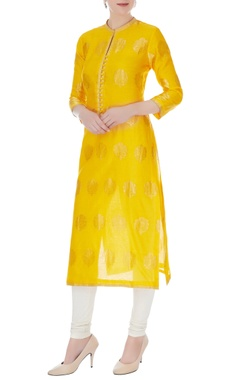 RAR Studio Yellow chanderi handloom woven jacobean kurta
