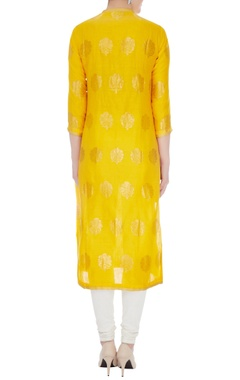 Yellow chanderi handloom woven jacobean kurta
