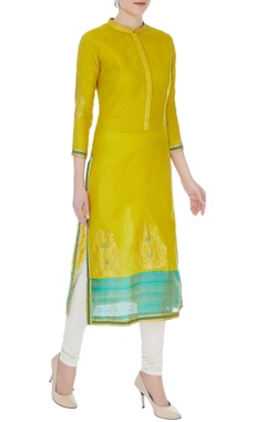 RAR Studio Lime green & aqua blue chanderi handloom woven meena work kurta