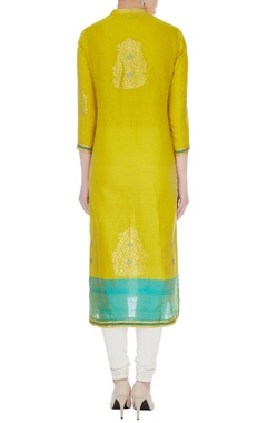 Lime green & aqua blue chanderi handloom woven meena work kurta