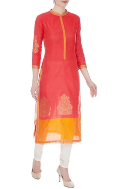 RAR Studio Peach & orange chanderi handloom woven meena work kurta