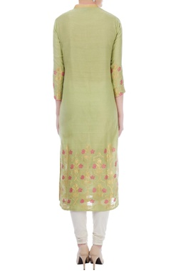 asparagus & fuschia chanderi handloom woven mughal jaal work kurta