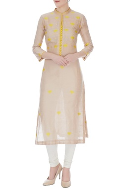 RAR Studio Almond & yellow chanderi handloom woven kamal jaal work kurta