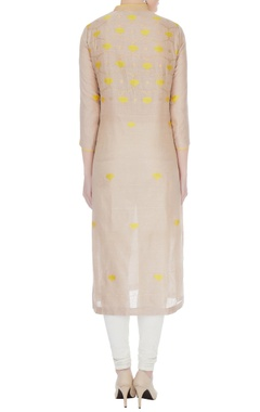 Almond & yellow chanderi handloom woven kamal jaal work kurta