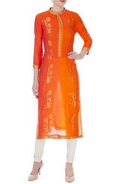 RAR Studio Orange & rust chanderi handloom woven mughal buta work kurta