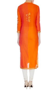 Orange & rust chanderi handloom woven mughal buta work kurta