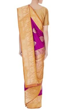 Purple handwoven pure banarasi silk zari motifs saree