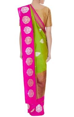 Green & pink handwoven pure banarasi silk zari motifs saree