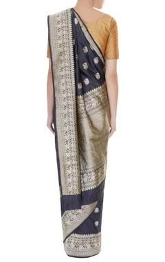 Black handwoven pure banarasi silk zari elephants saree