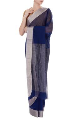 Blue handwoven pure banarasi silk sari