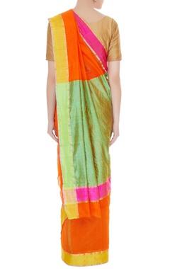 Orange handwoven pure banarasi silk saree