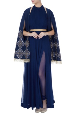 navy blue georgette thread embroidery anarkali with churidar, cape & belt