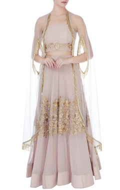 Pale muave georgette thread embroidery lehenga with blouse & cape