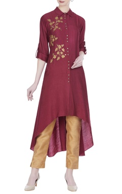Joy Mitra Sequins embroidered collar style tunic