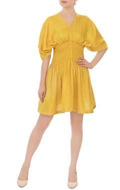 tuscan sun-yellow smocked waist linen satin tea dress