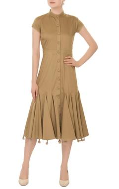 safari green midi dress with deconstructed tassel layer