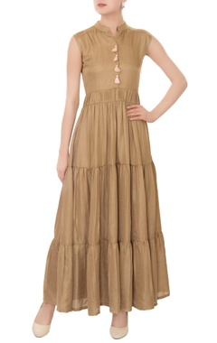 olive tiered style hippie maxi dress