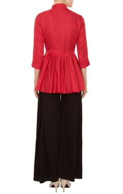 scarlet red drop-waist shirt with pleated layer & tie-up accents