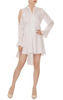 white cold-shoulder high-low dress
